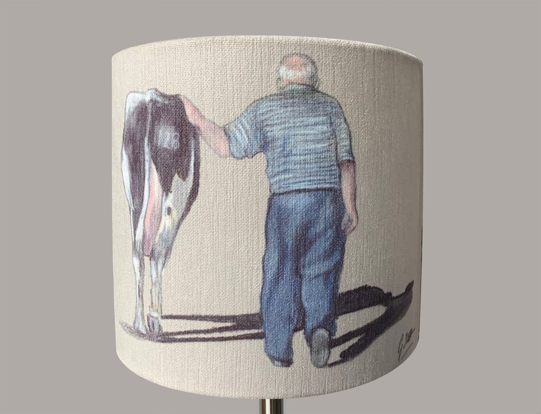 Farmer Walking With Cow Lampshade