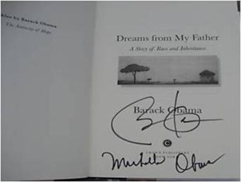 Barack and Michelle Obama Autographed Book
