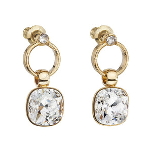 Gold Earrings with Crystal Rock