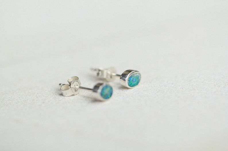 Genuine Blue Opal Stud Earrings