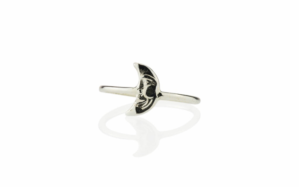 Star Crossed Crescent Moon Ring