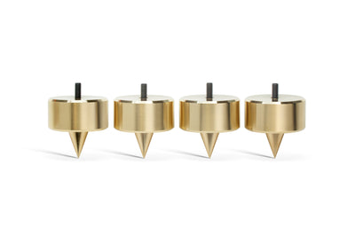 "PUREPOINT™ BRASS FOOTERS 2"" DIA X 2"" TALL W/ M6-1 THREADED STUD - FOR CARPET (SET OF 4)"
