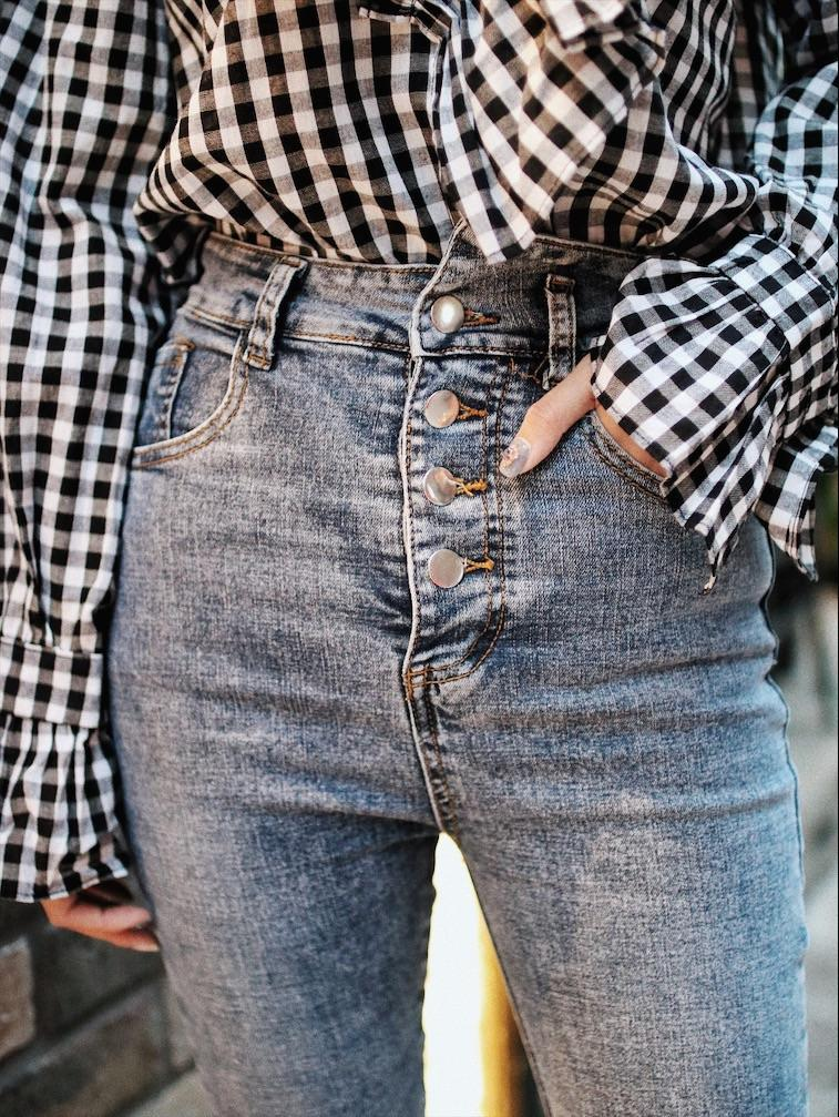 Front Button High Waisted Jeans