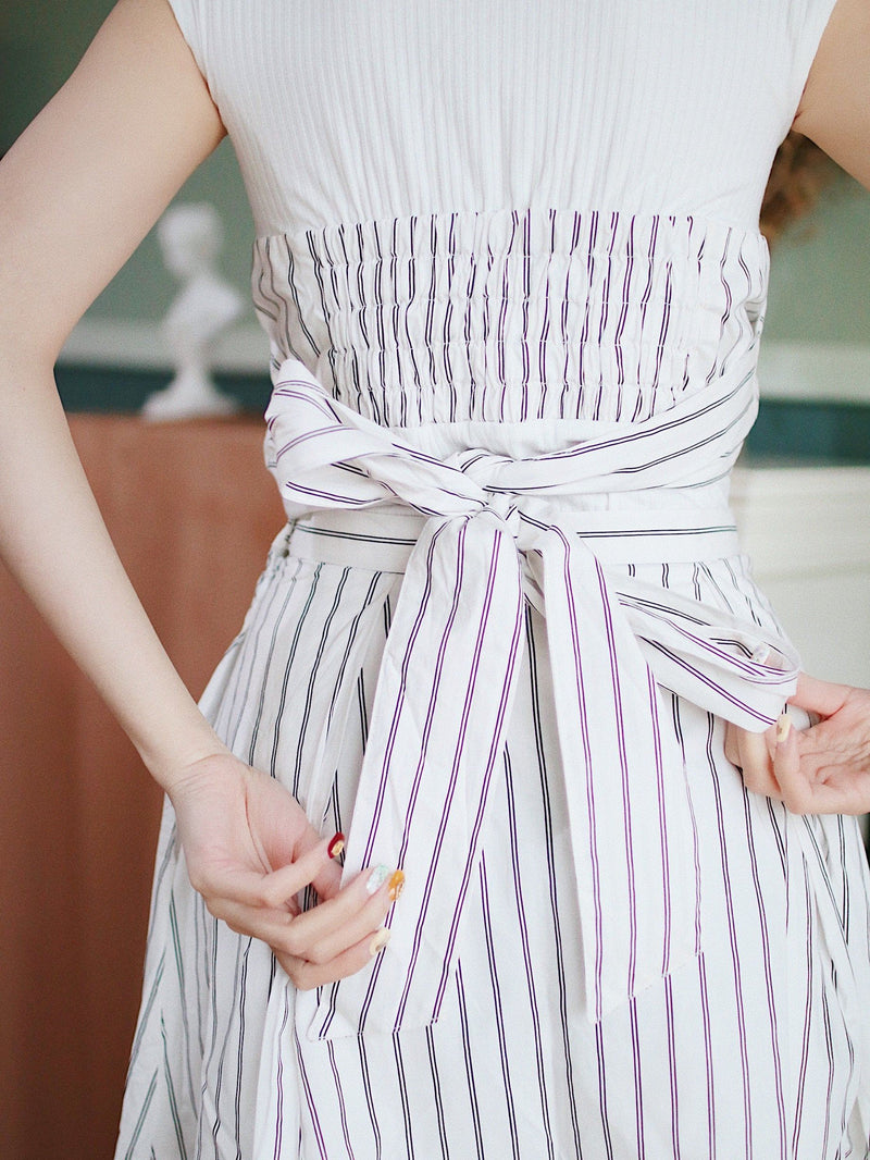 Vertical Stripes Top & Skirt Set
