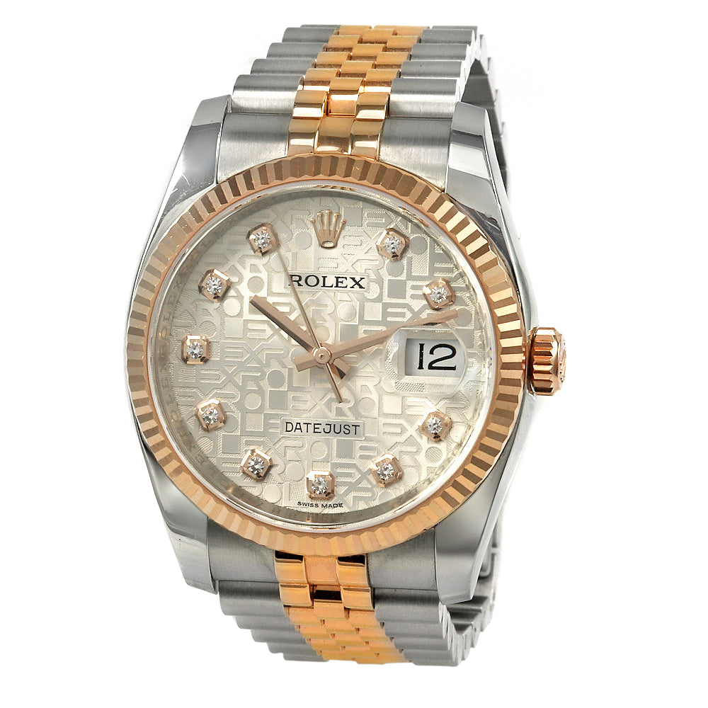 ROLEX DateJust Two Tone 36 mm Stainless Steel&18K Yellow Gold Diamonds Watch