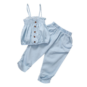 Two piece button tank and pants - LIGHT BLUE