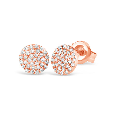 Round Micro Pave Diamond Earrings