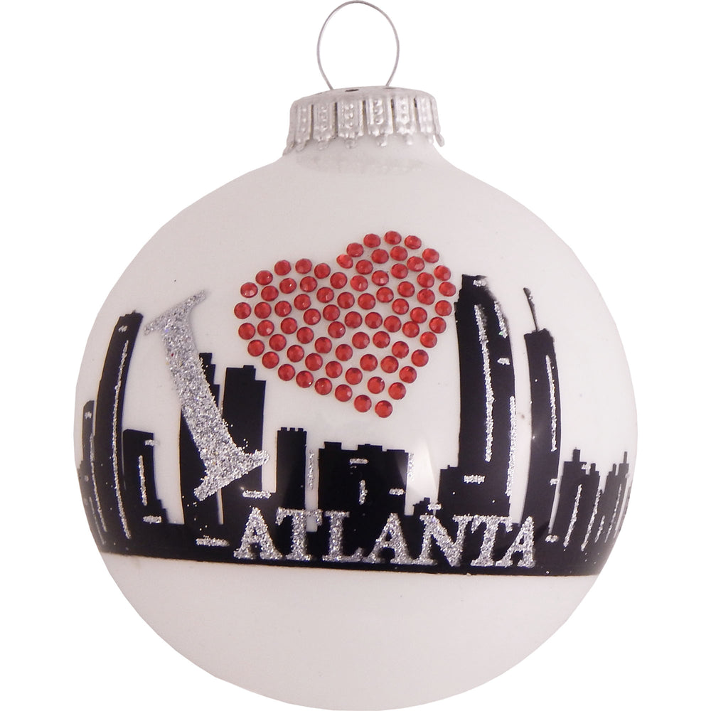 White ball glass ornaments with Atlanta skyline and rhinestone heart