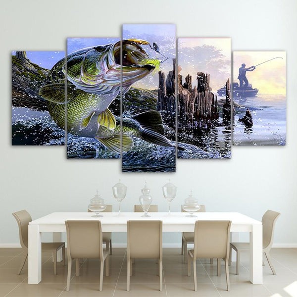 Five Piece Largemouth Bass Painting