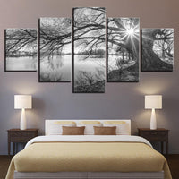 Five Piece Lakeside Trees Painting