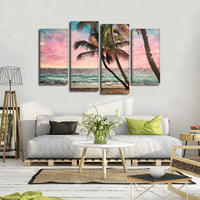 Four Piece Palm Tree Beach Painting