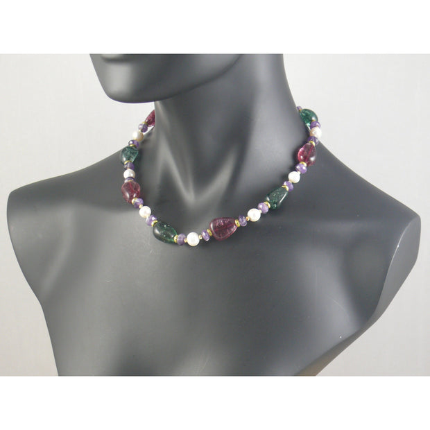The Real Pearl Co. - White Pearls, Red & Green Crystals, Amethyst & Brass Rings Necklace