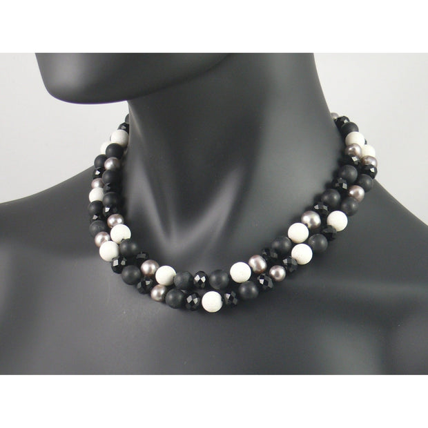 The Real Pearl Co. - Short Necklace of Silver Pearl, Matt Onyx, White Coral & Black Crystal