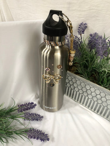silver water bottle with bow charm