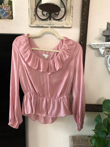 14th & Union pink ruffle blouse
