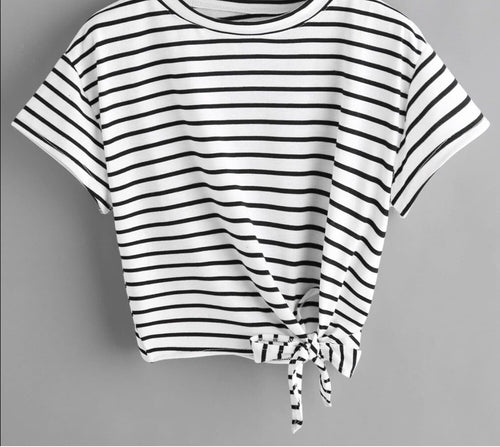Black & white striped crop tee