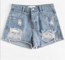 Load image into Gallery viewer, Distressed lt wash denim shorts