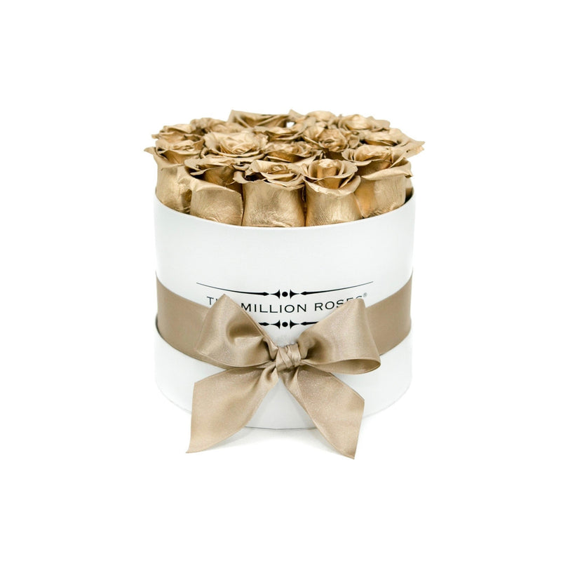 Small - Gold Eternity Roses - White Box - The Million Roses Slovakia