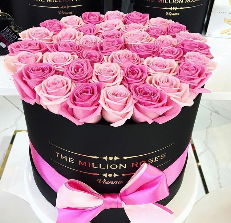 Medium -Light Pink & Dark Pink Roses - Black Box - The Million Roses Slovakia
