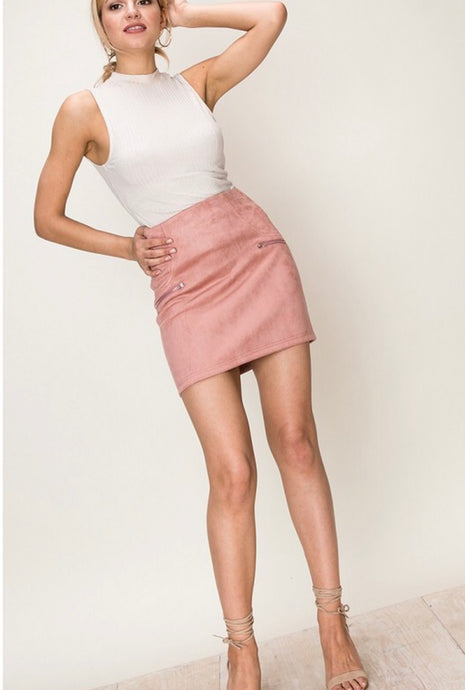 SOFT CORAL SUEDE SKIRT