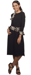 Image of Black Dress with Cuffs & Sashes - 5 Piece Set