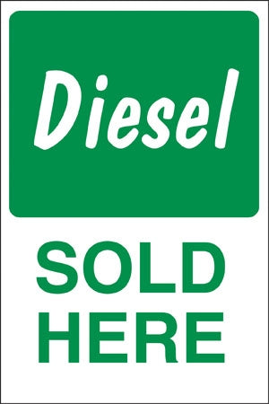 "Diesel SOLD HERE- 24"" x 36"" Aluminum Pole Sign"