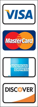 Visa, MasterCard, Discover And American Express Decal