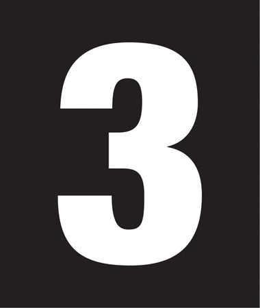 "Pump Decal, White on Black, ""Number 3"""