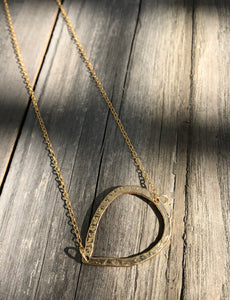 Hammered Gold Horizontal teardrop on 16inch 24k Gold fill chain