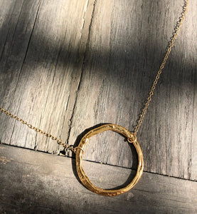 Hammered Gold open circle on 16inch 24k Gold fill chain