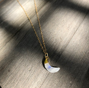 Moonstone Moon on 16inch 24k Gold fill chain