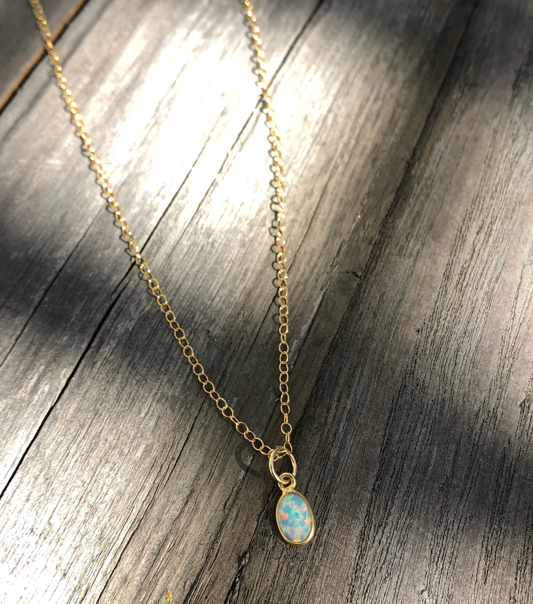 Tiny oval opal on 16inch 24k Gold fill chain