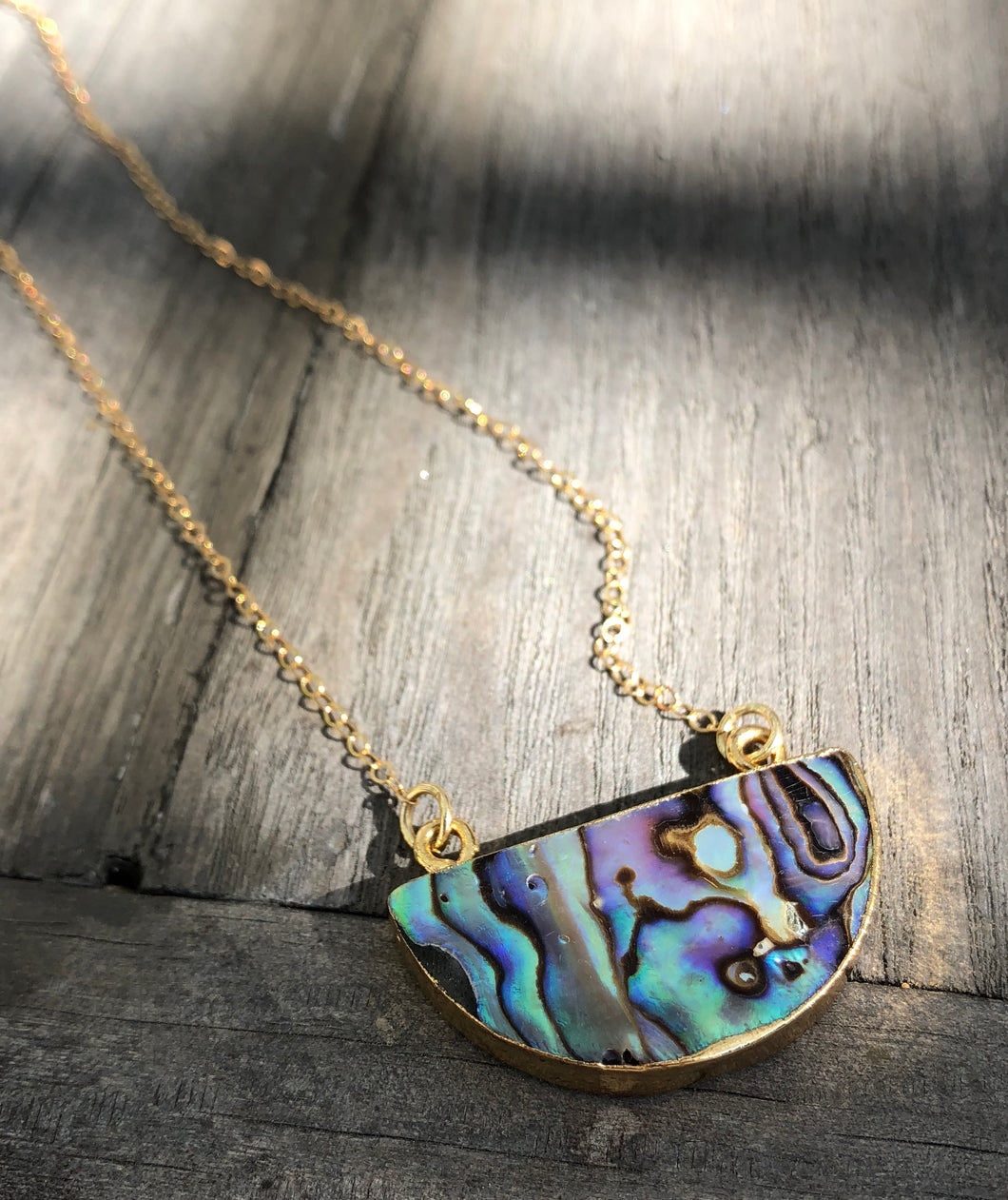 Abalone half-moon pendant on 16inch 24k Gold fill chain
