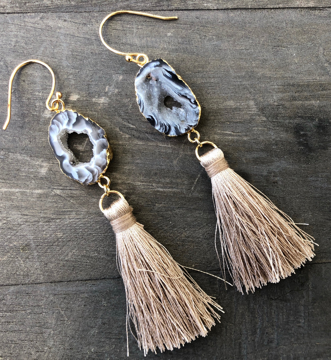 Black geode tassel earrings 2.5 inches in length