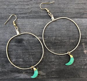 Gold plated hoops 1.5 inches in diameter with Chalcedony bezeled moons
