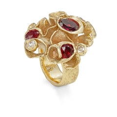 Bespoke Seaweed Frilly Ring with Rubies and Diamonds