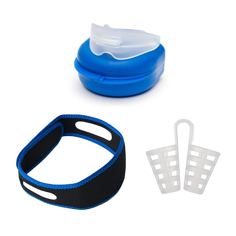 3-in-1 | Anti Snore Kit | Adjustable Chin Strap | Mouthguard | Nose Vent