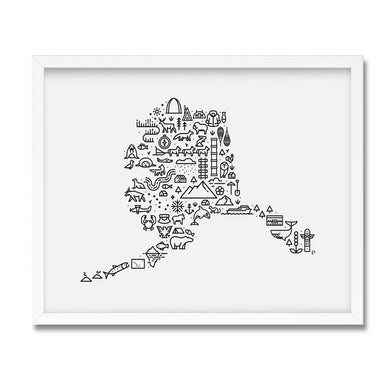 Alaska map illustrated print framed