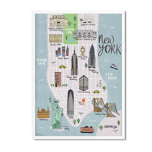 New York map illustrated print - Sarah Frances - Mapsy