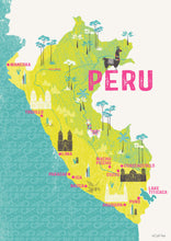 Peru map illustrated print - Mel Smith