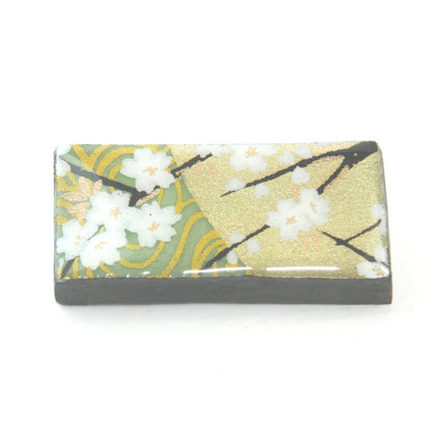 Domino Brooch - Golden Green