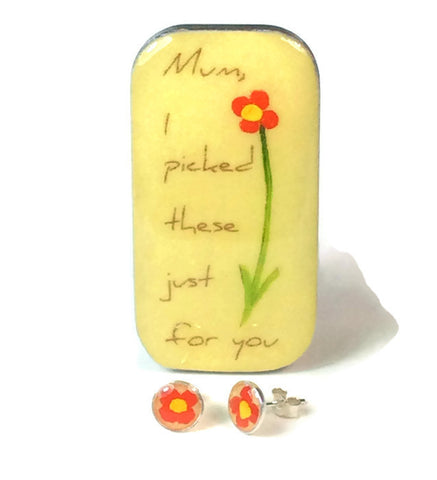 """Mum, I  picked These Just For You..."" Flower Studs & Teeny Tiny Tin"