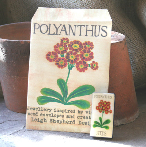 Seed Envelope Domino Piece Brooch - Polyanthus