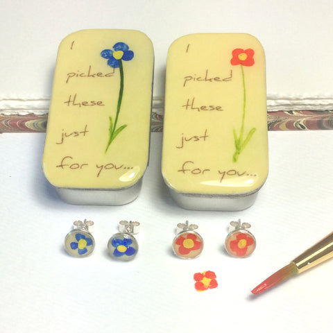 """ I  picked These Just For You..."" Flower Studs & Teeny Tiny Tin"