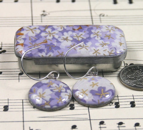 Sixpence Earrings and Teeny Tiny Tin Tiny Lilac Flowers