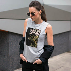 Chiltern Grey Gold Snakeskin Print Top Lifestyle 1