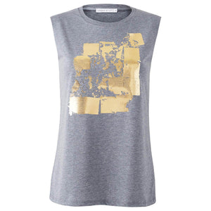 Seymour Grey Gold Abstract Print Top Front View