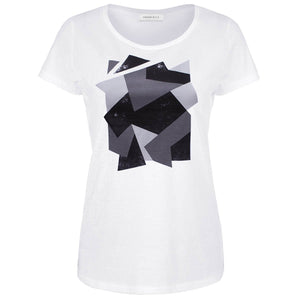 Telford White Grey Camouflage Abstract Print T-shirt Front View