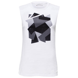 Golborne White Grey Camouflage Abstract Print Top Front View