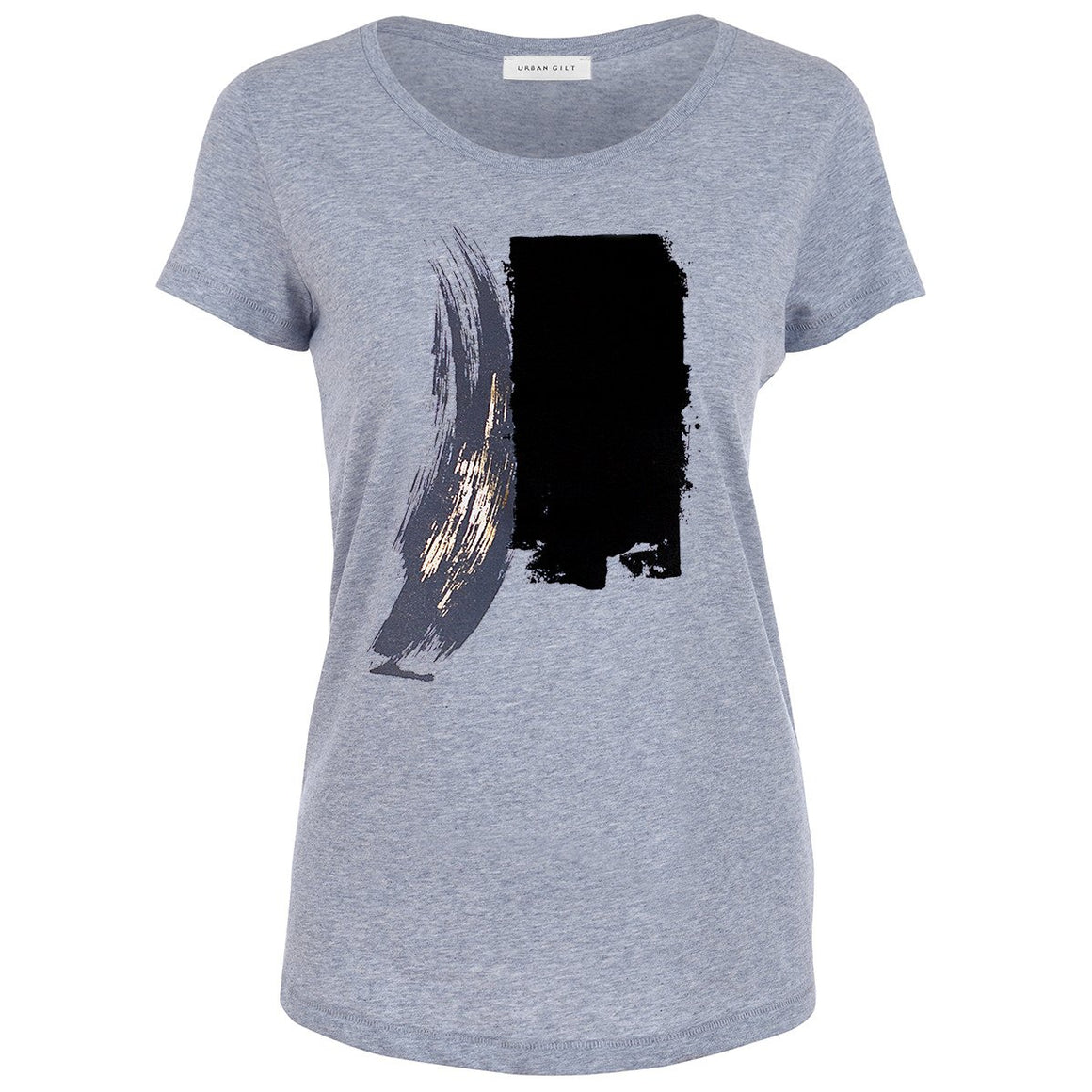 Maltby Grey Abstract Paint Stroke Print T-shirt Front View